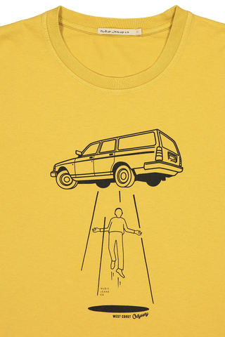 Neckline and graphic detail image of Nudie Jeans Roy Station Wagon Tee Turmeric