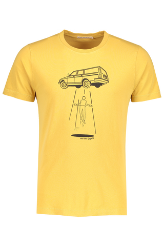 Front image of Nudie Jeans Roy Station Wagon Tee Turmeric
