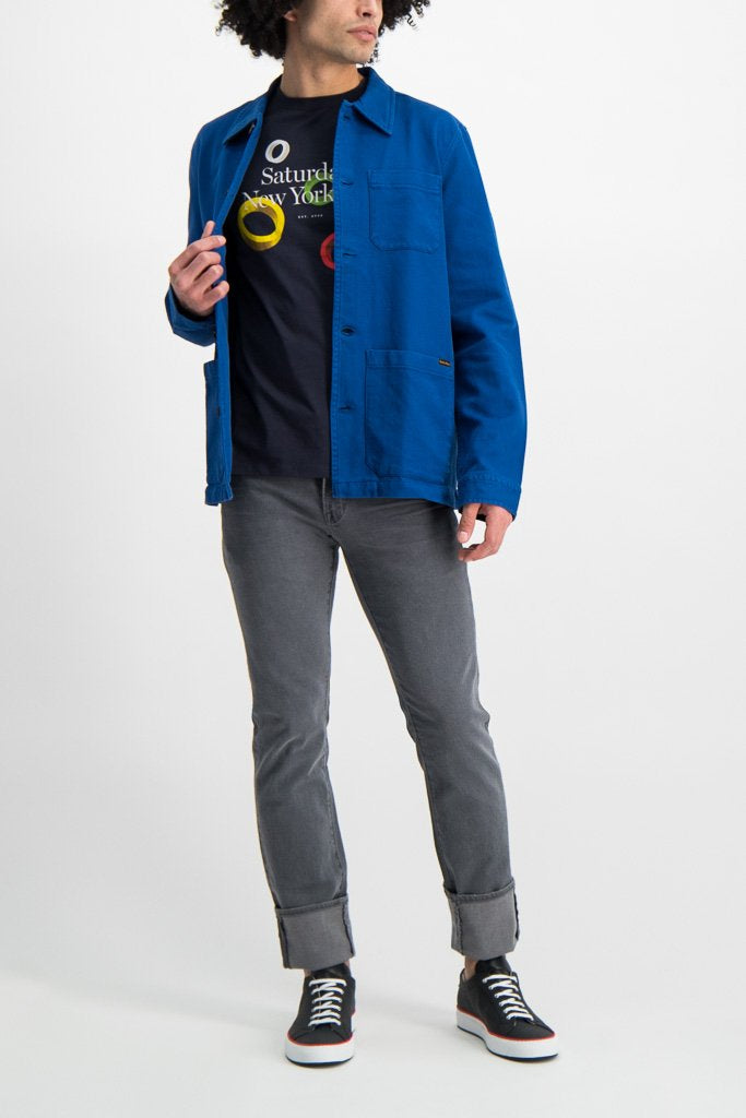 Full Body Image Of Model Wearing Nudie Jeans Barney Worker Jacket Blue