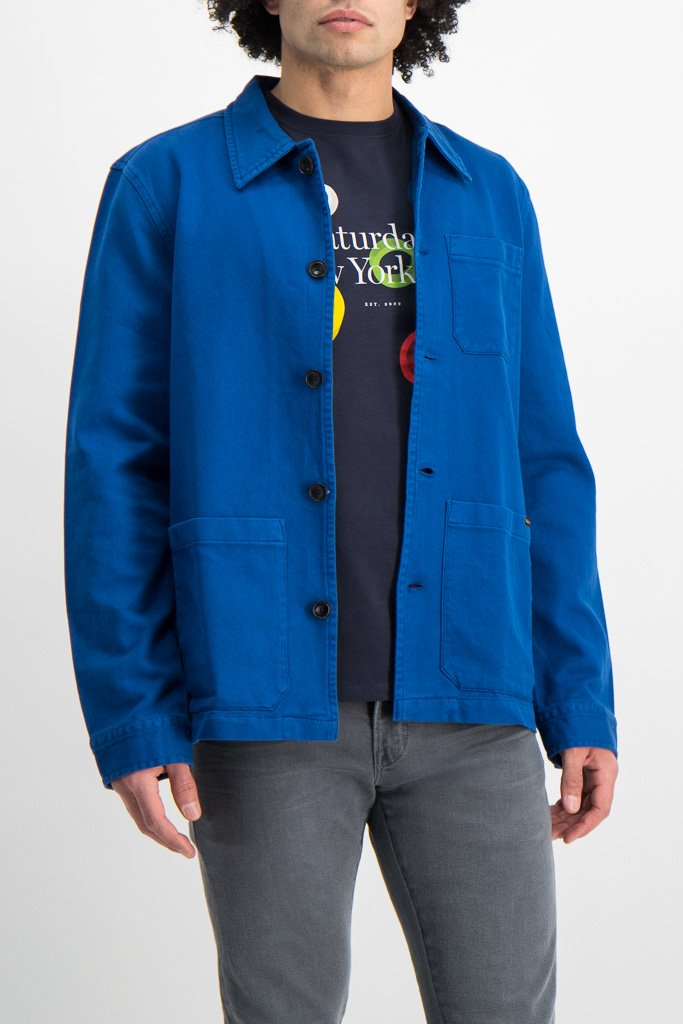 Front Crop Image Of Model Wearing Nudie Jeans Barney Worker Jacket Blue
