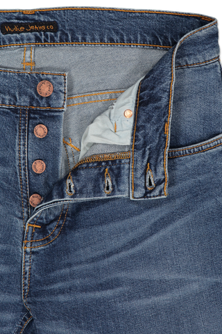 Zipper Detail Image Of Nudie Jeans Grim Tim Mid Blue Indigo