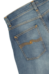 Back pocket detail image of Nudie Jeans Grim Tim Worn in Broken