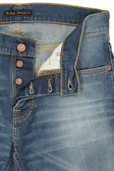 Button fly detail image of Nudie Jeans Grim Tim Worn in Broken