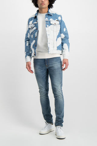 Full Body Image OF Model Wearing Nudie Jeans Jerry Tie Dye Jacket Denim