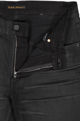 Waistline and zipper detail image of Nudie Jeans Lean Dean Black Minded