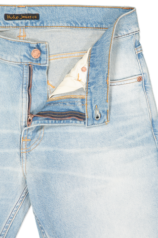 Waistline and zipper detail image of Nudie Jeans Lean Dean Denim