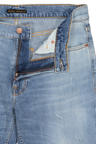 Waist and zipper detail image of Nudie Jeans Lean Dean Indigo Mountain