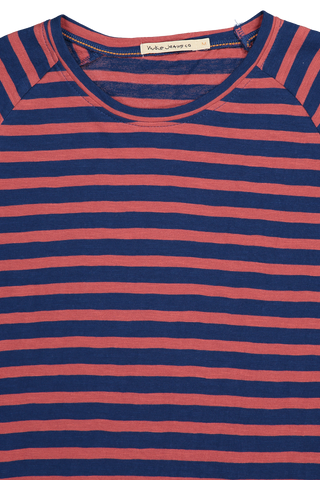 Front collar detail image of Nudie Jeans Otto Breton Stripe Crewneck