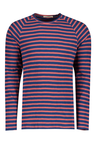 Front view image of Nudie Jeans Otto Breton Stripe Crewneck