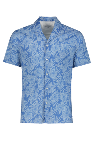 Front Image of Officine Generale Dario Short Sleeve Shibori Shirt Cobalt