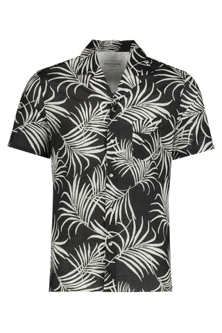 Front Image Of Dario Short Sleeve Tropical Shirt Black/White