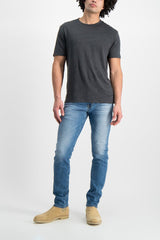 Full Body Image Of Model Wearing Officine Generale GMT Dyed T Shirt Faded Black