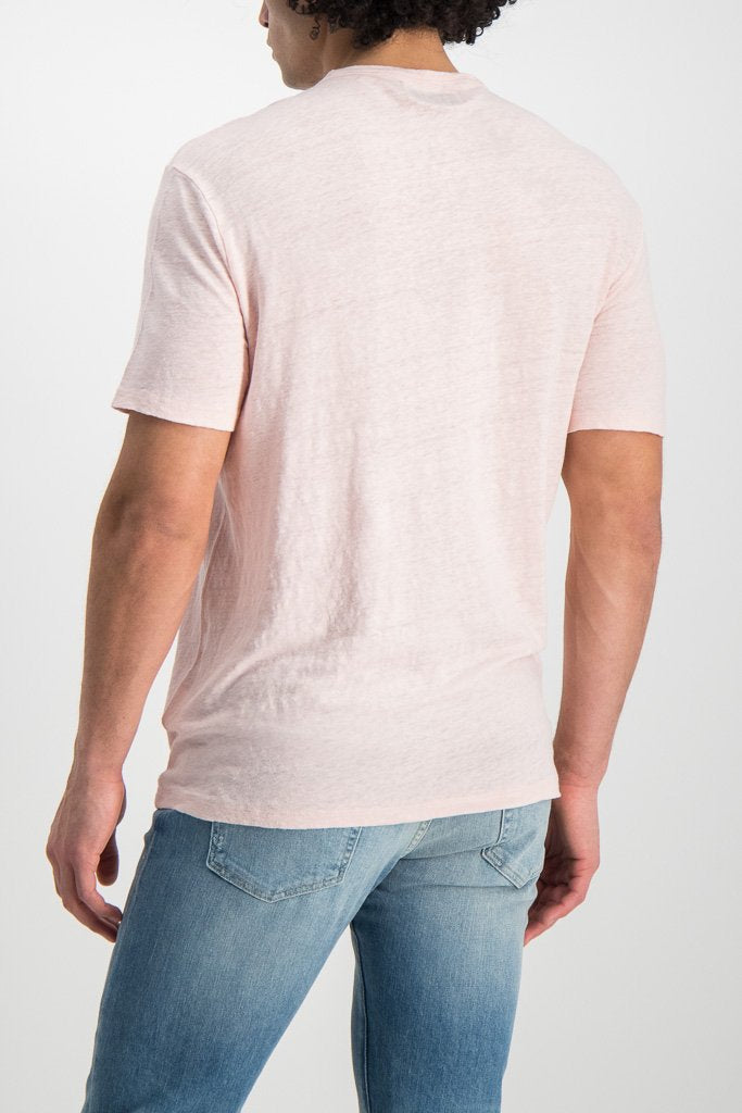 Back crop Image Of Model wearing Officine Generale GMT Dyed Linen T Shirt Rosebud