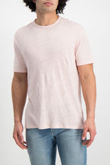 Front Crop Image Of Model wearing Officine Generale GMT Dyed Linen T Shirt Rosebud