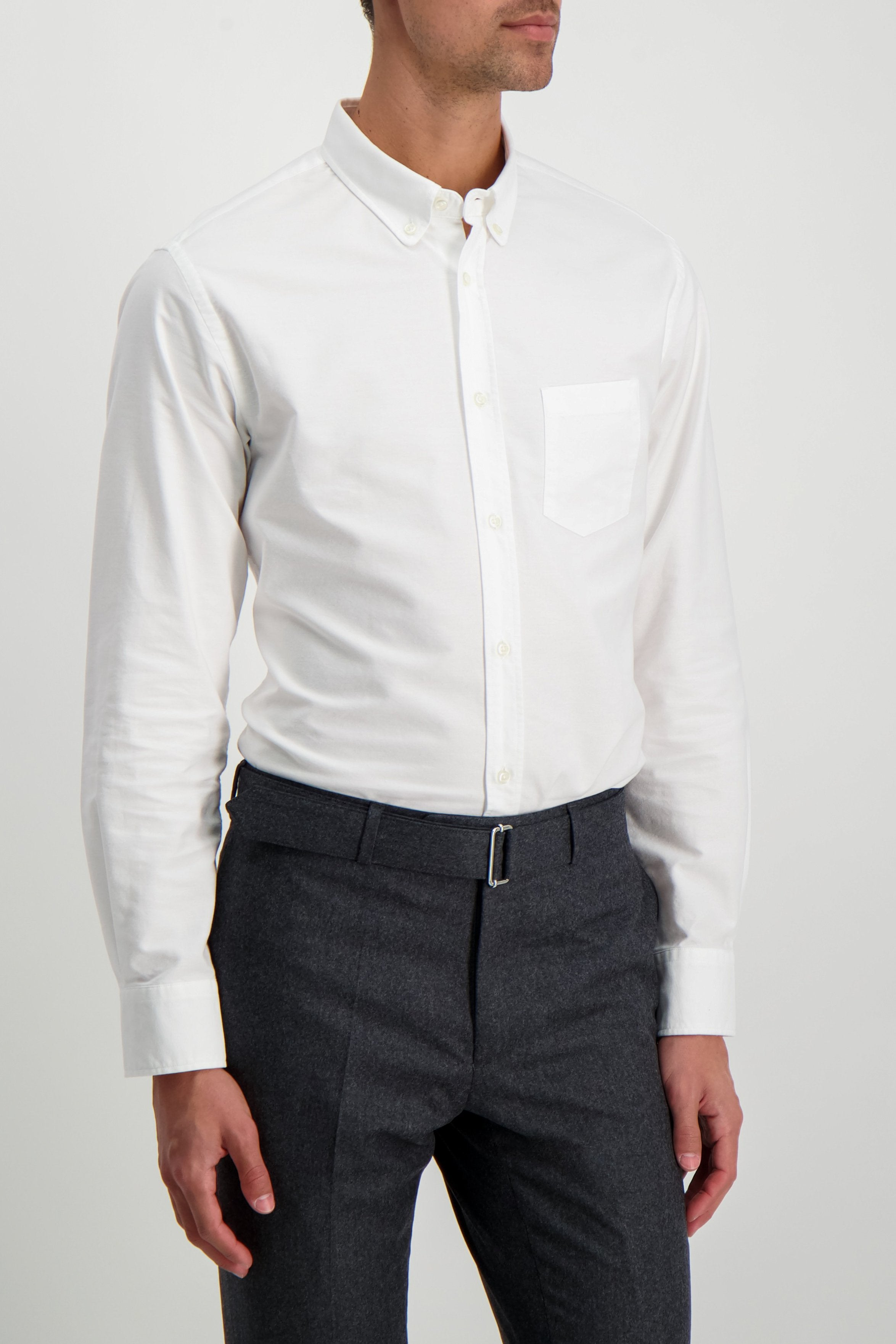 Front Crop Image Of Model Wearing Officine Generale Front Image Antime Button Down Oxford