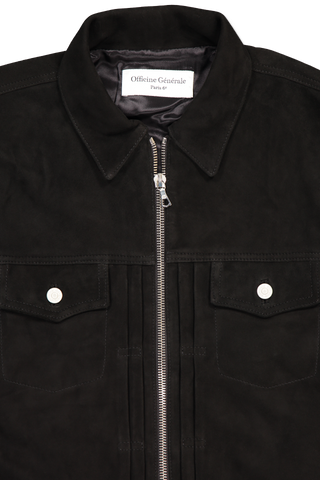 Collar and Neck Detail Johan Suede Jacket