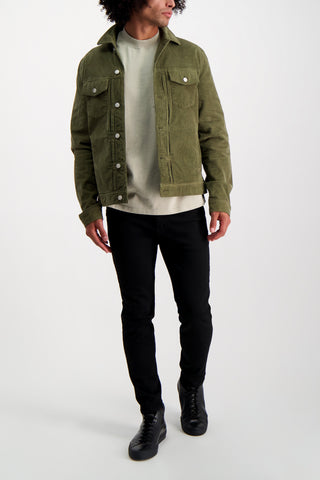 Full Body Image Of Model Wearing Officine Générale Liam Corduroy Jacket
