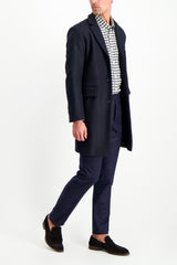 Full Body Image Of Model Wearing Officine Générale Front Image Paul Flannel Pant Navy