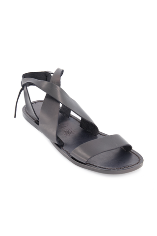 Front angled view image of Positano Leather Sandal Black
