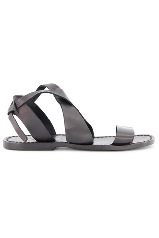 Side view image of Positano Leather Sandal Black