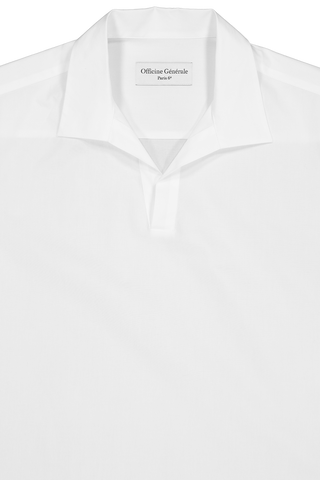 Front collar detail image of Officine Generale Yann Popover Polo White