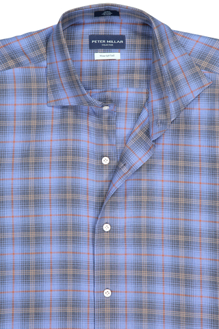 Front collar detail image of Peter Millar Men's Chalet Plaid Woven Sport Shirt Marino