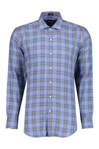 Front view of Peter Millar Men's Chalet Plaid Woven Sport Shirt Marino