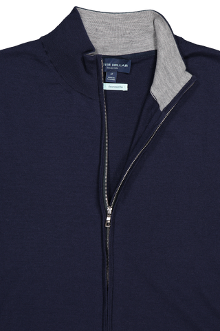 Front collar and zipper detail image of Peter Millar Excursionist Flex Full Zip