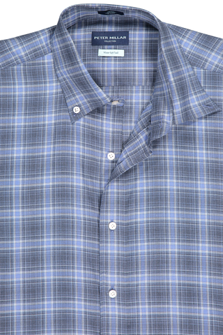 Front collar detail image of Peter Millar Men's Glacial Plaid Woven Shirt Barchetta