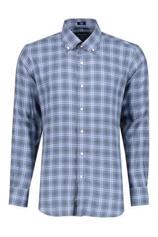 Front image of Peter Millar Men's Glacial Plaid Woven Shirt Barchetta