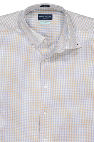 Front collar detail image of  Peter Millar Musee Micro Check Shirt Menthe