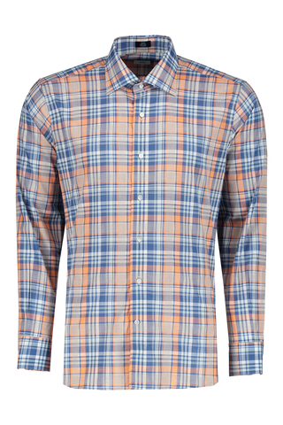 Front view image of Peter Millar Solstice Chambray Madras Sport Shirt Bleuet