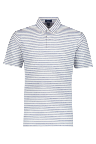 Front view image of Peter Millar Spring Sails Short Sleeve Polo Starlight Blue/White