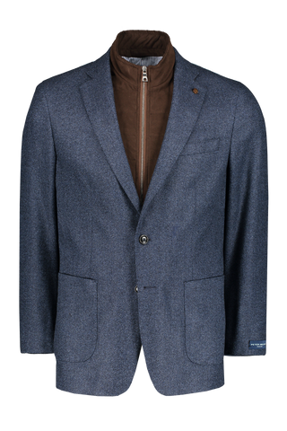 Stone Washed Jacket with Removable Collar