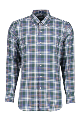 Front view image of Peter Millar Men's Suffolk Plaid Woven Shirt Muschino