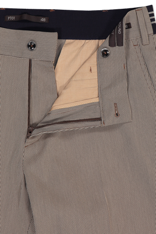 Zipper Detail Image of PTO1 Flat Front Elastic Waistband Trouser