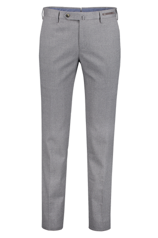 Front image of PT01 Men's Slim Flat Front Combed Flannel Trouser Grey