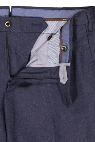 Waistline and zipper detail image of PT01 Men's Slim Flat Front Combed Flannel Trouser Navy