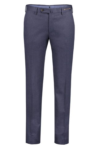Front image of PT01 Men's Slim Flat Front Combed Flannel Trouser Navy