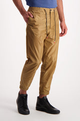 Front Crop Image Of Model Wearing PT Forward Drawstring Jogger Diagonal Pockets Khaki
