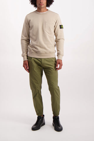 Full Body Image Of Model Wearing PT Forward Pleated Chino In Army Green