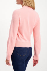 Back Crop Image Of Model Wearing Logan Cashmere Crewneck Sweater