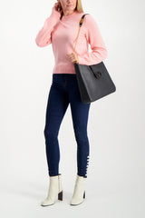 Full Body Image Of Model Wearing Logan Cashmere Crewneck Sweater