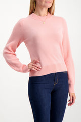 Front Crop Image Of Model Wearing Logan Cashmere Crewneck Sweater