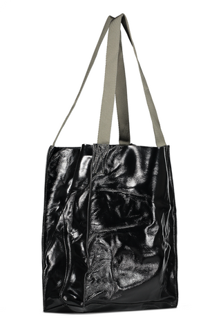 Back angled view with strap image of Rag & Bone Women's 425 Packable Tote Black