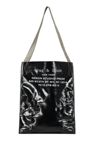 Front view with strap image of Rag & Bone Women's 425 Packable Tote Black