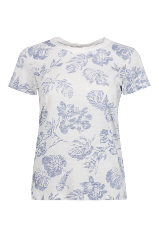 All Over Hawaiian Tee White W/ Blue Floral