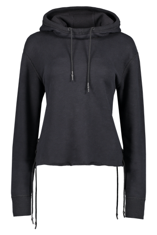 Front view image of Rag & Bone Women's Amelia Lace Hoodie Black