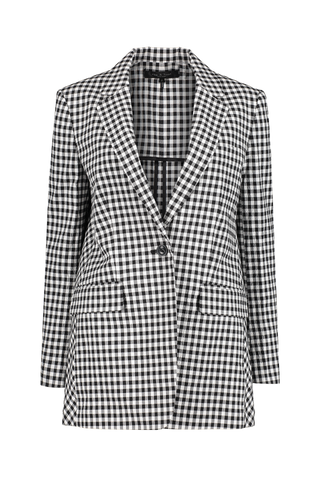 Women's Ames Gingham Blazer Black and White