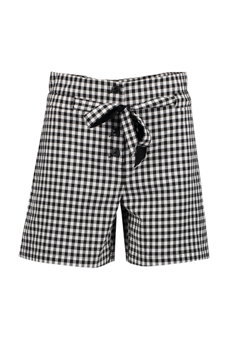 Women's Camille Gingham Short Black and White